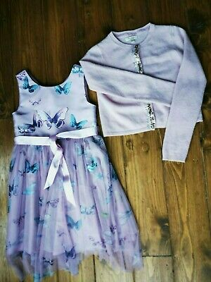 monsoon lilac butterfly dress age 8, Boden cashmere cardigan 8-9 years