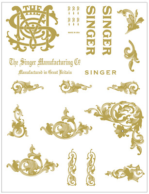 Singer Model 66 Sewing Machine Acanthus Leaves  Style Restoration Decals