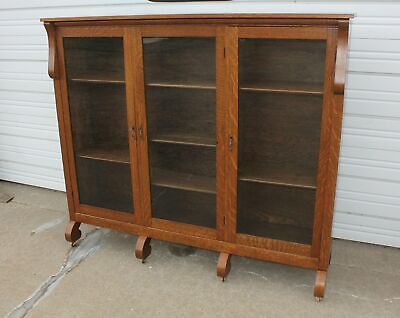 Antique Quartersawn Tiger Oak 3 Door Empire Bookcase Old Display Cabinet + Key
