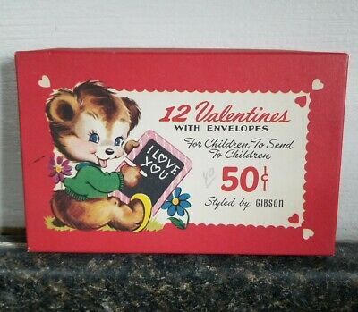 Vintage Gibson Valentines Cards Empty Box Only Decor Graphics Bear NC