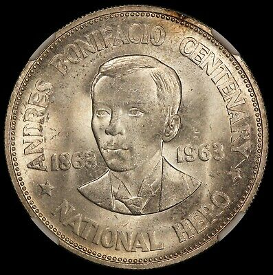 1963 Philippines Andres Bonifacio 1 One Peso Silver Coin - NGC MS 64 - KM# 193