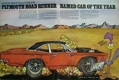 1969 Plymouth Road Runner Print Ad CAR of the YEAR