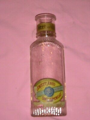 """Antique 11 1/2"""" Pickle Bottle--labeled SWEET ARCO SWEET PICKLES-A.R.CO.MALONE NY"""