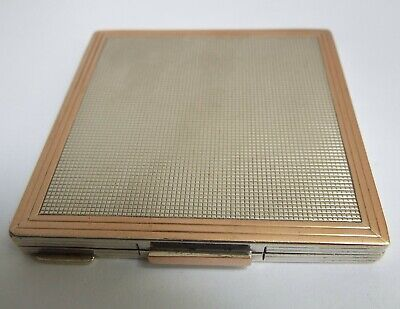 Lovely Quality English Antique 1940 Solid Silver & 9Ct Rose Gold Powder Compact