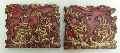 Chinese Carved Red & Gold Gilt Lacquer Taoist Immortals  Prayer Plaque QING x 2