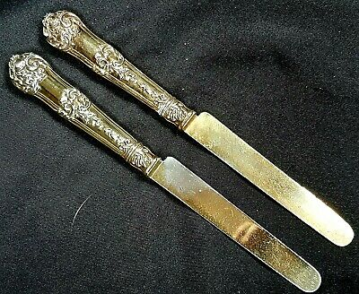 Beautiful Pair of Antique French Silver Gilt Rococo Dinner Knives Paris c1880