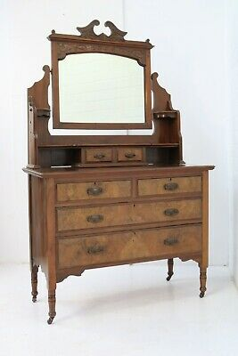 Antique Edwardian Dressing Table With Mirror And Drawers