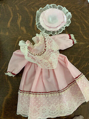 """Antique 9"""" Pink Doll Dress Sunday Church Style Early Outfit Lace And Hat"""