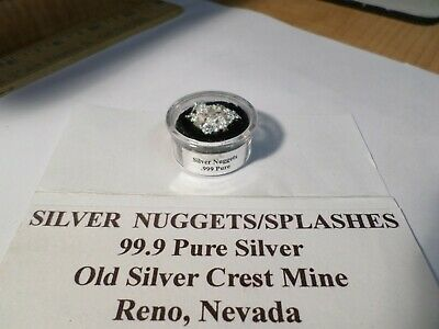 PURE NEVADA SILVER  CRYSTALLINE NUGGETS/SPLASHES 5.457 Grams Total.