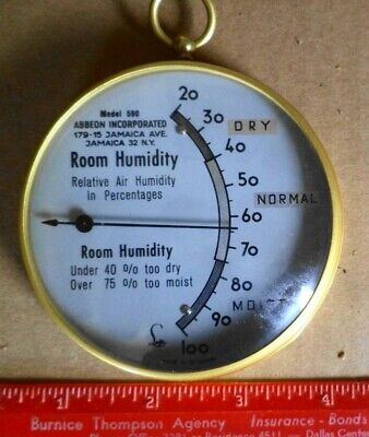 Vintage Abbeon Model 590 Room Humidity Gauge Made In Germany Weather Instrument+