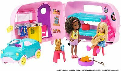 Barbie Club Chelsea Playset With Doll Puppy Car Transforming Camper Accessories