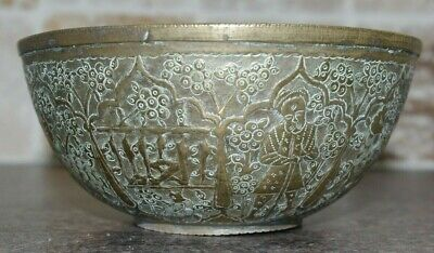 Very fine Antique Middle Eastern Islamic / Persian Ottoman Bronze Bowl Engraved