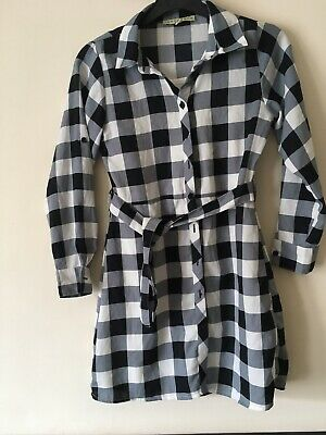 Girls Designer Innocence Kids Black And Cream Checkered Shirt Dress Age 8 Years