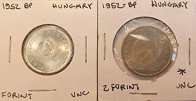 1952 BP Hungary 1 & 2 Forint uncirculated coin(s) KM# 545 & 548