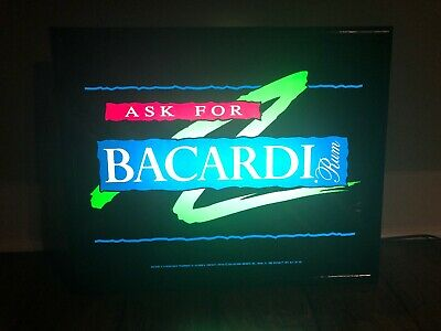 "Bacardi Rum Light Sign 1994 Works Great 21.5"" X 17.5"" Ask For Bacardi Rum"