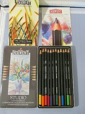 Derwent Watercolor Pencils VTG Rexel Coloring Preowned Art Metal Box Set