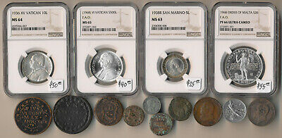 14 Old Italy Coins (4 Ngc Certified) Vatican, San Marino, Malta > Must See > Nr