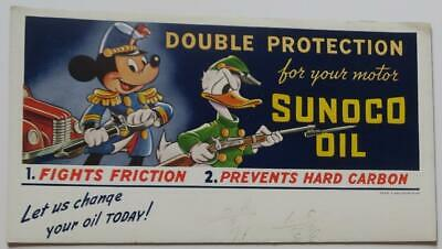1941 Sunoco Oil Donald Duck Mickey Mouse Advertising Blotter,Car,Rifle, Sword,Vg