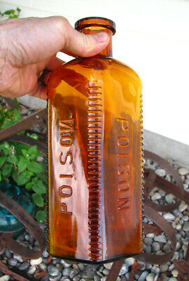 """LARGEST SIZE! old ELI LILLY amber POISON // POISON bottle embossed 10 3/8"""" tall"""