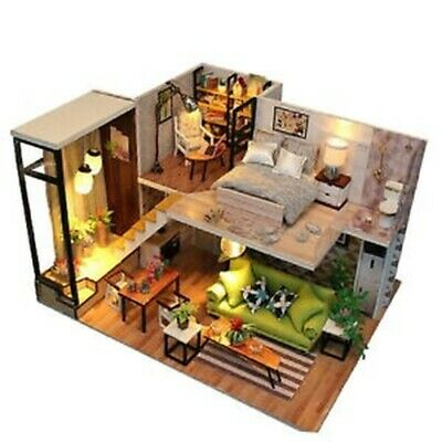 DIY Wooden Dollhouse Miniature Kit w/ Furniture, Light European House Gift