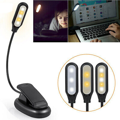 LED Reading Book Light With Flexible Clip USB Rechargeable Lamps For Reader US