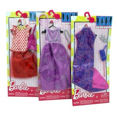 3-Pack Barbie Clothes Genuine Mattel  with Accessories Purses, Headbands, Etc.