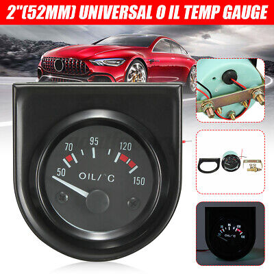 2 inch 52mm Universal Car Black Pointer Oil Temperature Gauge 50-150℃ LED Light