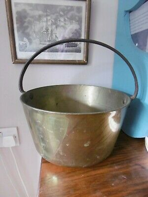 "Antique solid brass jam pan with cast handle  ,  11"" x 6.5"""