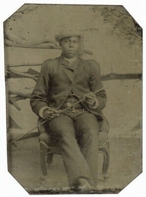 Tough Guy African American Black Man With Stick & Cigar Leans Back Tintype