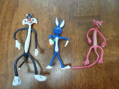 3 Vintage Bendable Figures 1978 Sylvester Cat; Pink Panther; Blue Bunny