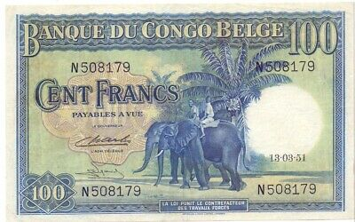 100 francs Congo Belge 1951 rare in this quality