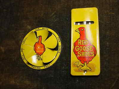 Vintage Red Goose Shoes Tin Whistle And Spinner Very Nice!