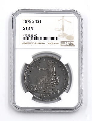 1878-S $1 Trade Dollar 900 Fine Silver Us Collectible Rare Coin Ngc Graded Xf45
