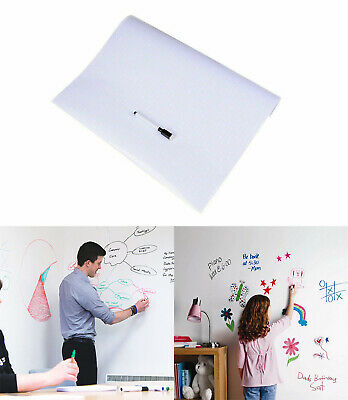 Dry Erase White Board Wall Stickers Peel Stick Message Board 50x200cm