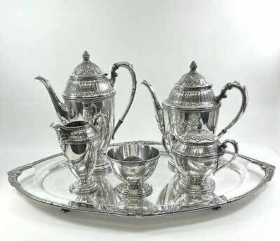 Marquise • 1847 Rogers Silverplate 6-Piece Tea / Coffee Set • Plate Loss On Tray