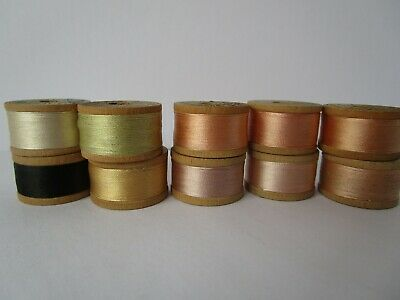 Vintage SILK thread Belding Heminway size D 10 spool lot pastels black silk