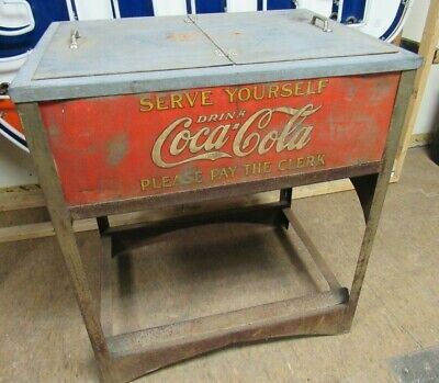 Rare Original 1929 Glascock Embossed Coca Cola Coke Ice Chest Cooler JJ41