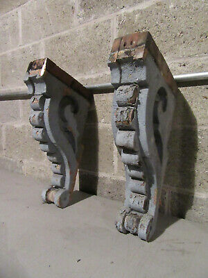 "~ Pair Ornate Antique Victorian Corbels 18"" Tall Set 3 ~ Architectural Salvage"