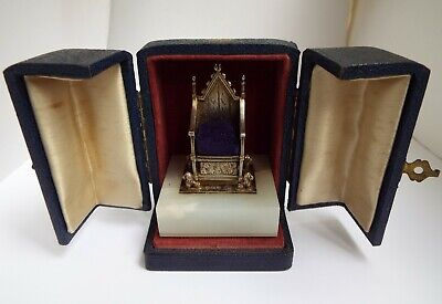 Stunning Rare Antique 1952 Solid Silver Coronation Chair Pin Cushion In Orig Box