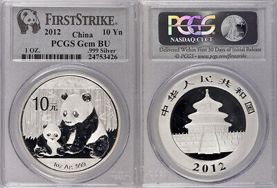 2012 Pcgs Gem Brilliant Uncirculated 10Yn China Panda .999 Silver 1Oz Coin !!!