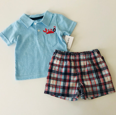 Carters 3 6 Months Polo Tee & Shorts Set Baby Boy Clothes Summer Outfit Crab