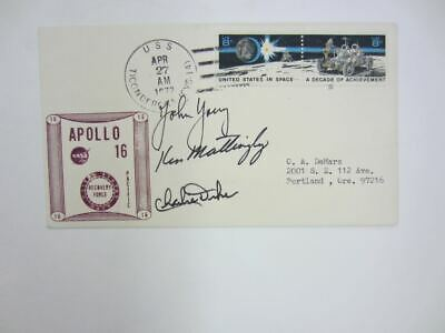 JOHN YOUNG, KEN MATTINGLY CHARLES M. DUKE Signed/Autograph APOLLO 16 DAY COVER