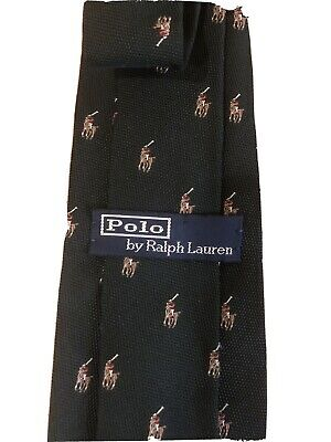 Vintage Polo Ralph Lauren All Over Pony Made In Italy 100% Silk Neck Tie Euc