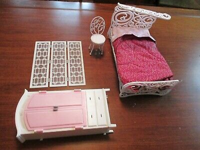 """11"""" to 12"""" Barbie Size Doll Furniture Bedroom Outfit Mattel Bed"""