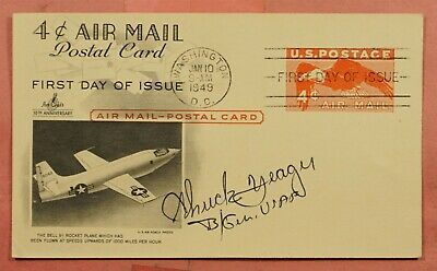 1949 Astronaut Chuck Yeager Signed Fdc 4C Airmail Postal Card Artcraft Cachet