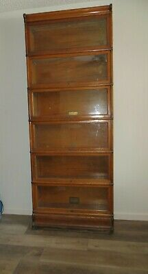 Antique 6 Section Oak Stacking Lawyers Barrister Library Book Case GlobeWernicke