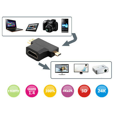 HDMI Female to Mini HDMI&Micro HDMI Male Trigonal Adapter Connector Converter