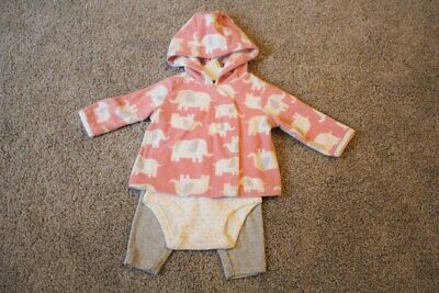 Carter's Baby Girl Pink Gray Elephant 3-Piece Fleece Set Size 3M 3 Months NWOT