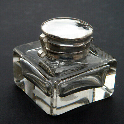 Antique CLEAR GLASS INKWELL writing pen box ink well cu
