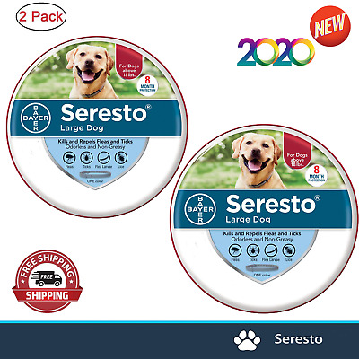 Bayer Seresto Flea and Tick Collar For Large Dog Over 18 Ibs Free Delivery-2Pack